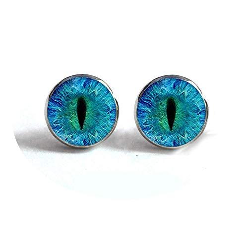 spyman Dragon Eye Stud Earrings Green Blue or Purple Eye Ear Nail Sauron Eye Jewelry Glass Cabochon Earrings Handmade HZ4,35 -