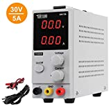 TUFFIOM DC Power Supply Variable 0-5A/0-30V| Portable Adjustable Switching Regulated, 3 Digit LCD Display & Alligator Leads US Power Cord, for Lab/Electronic Repair/DIY/Aging Test, 110V/ 220V