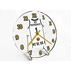 College Basketball USA - We're Number ONE College Hoops Jersey Themed Clocks - Support Your Team !!! (Michigan State Spartans)