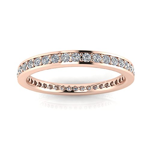 Jewelry Pop Up Shop Round Brilliant Cut Diamond Channel Pave Set Eternity Ring In 14k Rose Gold (0.3ct. Tw.) Ring Size 5, 3.2MM (0.3 Ct Tw Diamonds)