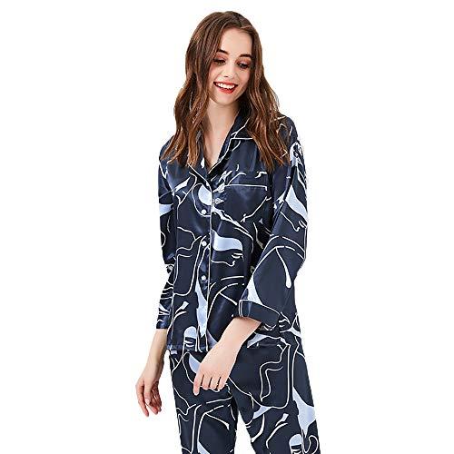Domicilio Pantalones De Atractivo Mujeres Tamaño Camisa Pijamas Manga Informal Gray Traje L Estilo color Conjunto Green Las A Larga Botón Vestido Punto Servicio Lujo Estampado Ropa 6qIqxdTwrE