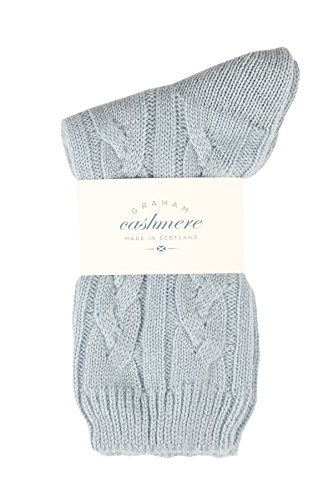Graham Cashmere Women's Pure Cashmere Cable Bed Socks Gift Boxed One Size Blue