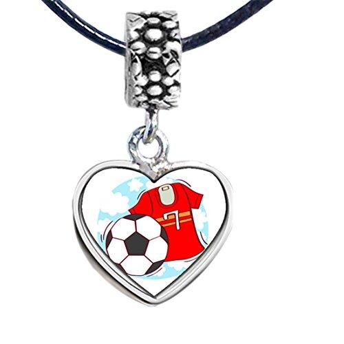 Silver Soccer Uniform - Silver Plated Olympics 7 soccer uniform and soccer Photo Flower Head Dangle Heart Bead Charm Bracelets