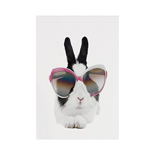 - Polyester Garden Flag Outdoor Flag House Flag Banner,Funny,Little Rabbit in Sunglasses Beauty Bunny Fluffy Creature Pet Portrait Fashion Image,Black White,for Wedding Anniversary Home Outdoor Garden D