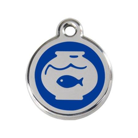 Katzenmarke Edelstahl emailliert 'Fish Bowl' blau inkl. Gravur