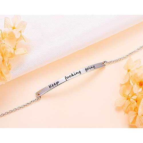 ALPHM S925 Sterling Silver Inspirational Gifts for Women Girl Adjustable Keep Going Bracelet Bangle Engraved Come Men Boy Gift Box by ALPHM (Image #4)