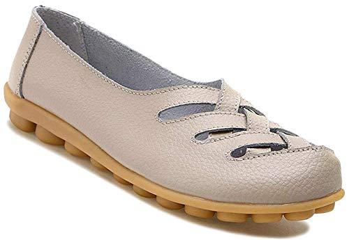 (Fangsto Women's Cowhide Leather Loafers Flats Sandals Slip-On US Size 9.5 Beige)