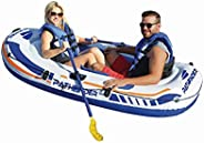 Pathfinder Inflatable Raft 2 Person Boat with Pump Oars Sports River Canoe Rafting Outdoor Beach Lake