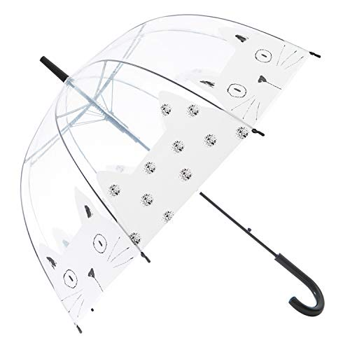 HAOCOO Cat Clear Umbrella,Bubble Transparent Fashion Dome Auto Open Umbrella Windproof for Outdoor Weddings or Events (White) ()