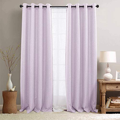 Window Lilac - Blackout Curtains for Bedroom Heavy Room Darkening Curtain Panels 84 inches Long Linen Textured Window Drapery 1 Panel Lilac