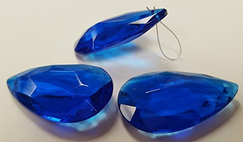 SAPPHIRE 42x30x10mm. FLAT FACETED TEARDROP PENDANTS - Lots of 12 (Teardrop Beads Faceted Flat)