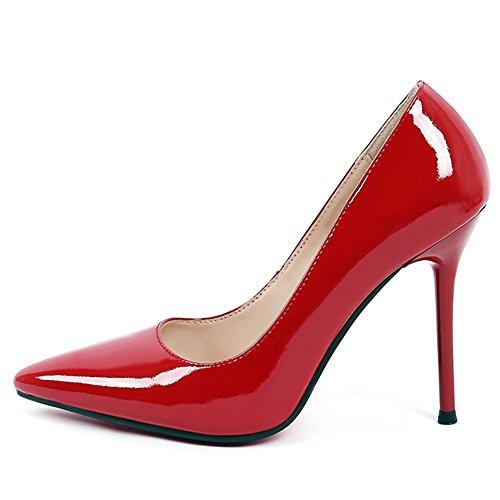 Da Vernice Tacco A Punta Stiletto Talloni Sette A Punta Partito Pompa A Fatto Donne Nove In Vestito Dello Alto Sexy Rosso Mano A4IwaxqOw