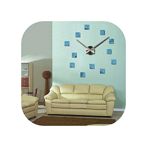 (Brief Wall Clock Design Acrylic Mirror Clocks DIY 3D Stickers Large Decorative Wall Mounted Electronic Watch,Light Blue,27 Inch)
