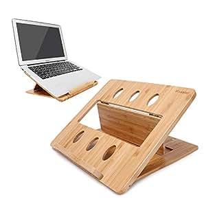 iCozzier - Soporte Plegable de bambú para Ordenador portátil, Tableta, Escritorio, Cama,
