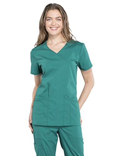 Cherokee Professionals Workwear Women's Mock Wrap Solid Scrub Top Small Hunter Green by Cherokee
