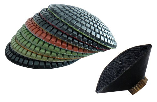 4'' Diamond Convex Polishing Pads Set of 8 PCS and Convex Back Holder For Concave Sinks or Ogee Edges by DAMO