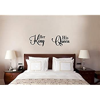 Enchantingly Elegant His Queen Her King Vinyl Decal Wall Decor Stickers  Lettering Wedding Valenines Love Decor Part 36