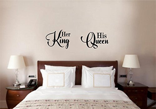 Enchantingly Elegant His Queen Her King Vinyl Decal Wall Decor Stickers Lettering Wedding Valenines Love Decor