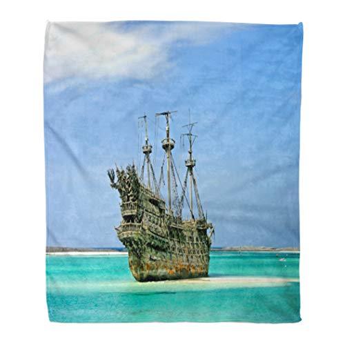 Emvency Flannel Throw Blanket Beach Replica of Old Ship in The Caribbean Boat Adventure Island Sailor Sea 50x60 Inch Lightweight Cozy Plush Fluffy Warm Fuzzy Soft