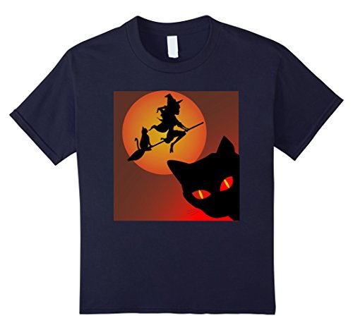 Kids Witch with black Cat T shirt Haloween Red Black Cat Tee 12 (Hilarious Haloween Costumes)