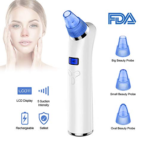 Blackhead Remover Vacuum, COOFO Pore Vacuum Electric Facial Pore Cleaner Comedone Extractor with 5 Levels Handheld Blackhead Acne Remover Rechargeable Vacuum Suction Blackhead Removal Beauty Tools