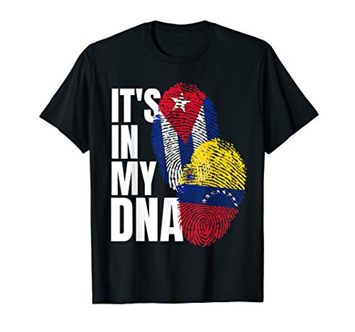 Cuban And Venezuelan Mix DNA Heritage Flag Gift T-Shirt