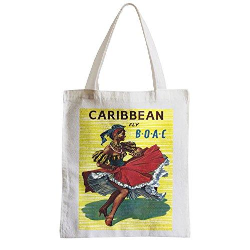 Große Tasche Sack Einkaufsbummel Strand Schüler Karibik Karibik Tanz Salsa Retro Vintage Fly Reisen Reisen iRkeig