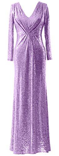 Macloth Manches Longues Élégante Robe De Soirée V Cou Sequin Mère De Lavande Robe De Mariée
