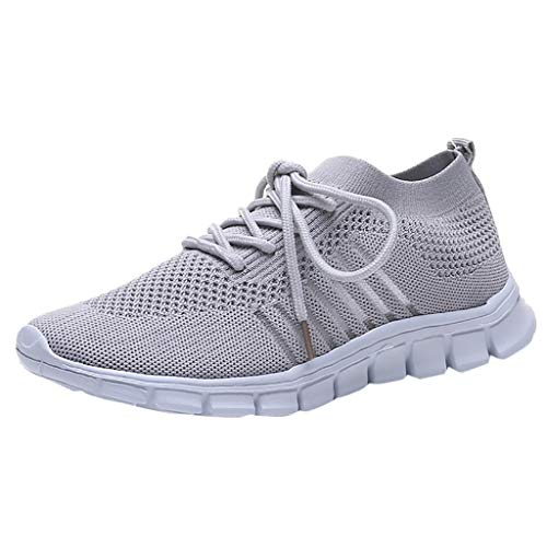 AOJIAN Shoes Workout Lace Up Sports Outdoor Lightweight Running Soft Breathable Sneakers Shoes for Women Grey