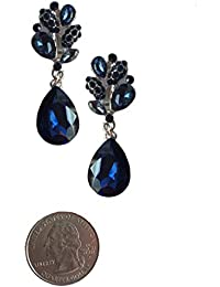 Silver Tone Art Deco Antique Vintage Retro Style Pear Blue Sapphire Rhinestone Dangle Clip-On Earrings