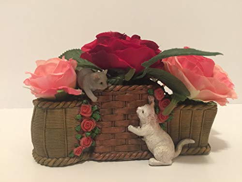ANIMAL FUN - RESIN PLAYING CATS IN THREE BASKETS VASE - RED AND PINK - KIDS ROOM - CAT LOVERS - GRANDMOTHER GIFT - LADIES GIFT - MOM GIFT - BABY SHOWER - NURSERY DECORATION by Peters Partners Design