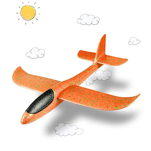 (Refasy Airplane Toys for 3-12 Year Old Boys Girls, Children Glider Model Foam Airplane Planes Manual Throwing Fun Outdoor Activities for Kids Sports Game Flying Toys Best Birthday Gifts Yellow)