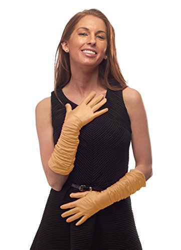 - Wings of a Dove Matte Elbow Length Ruched Gloves, Gold