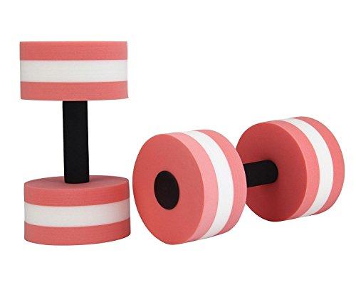 niceEshop(TM) Foam Dumbbells Water Aerobic Exercise Hand Bars Pool Resistance Exercises Equipment,Set of 2,Pink
