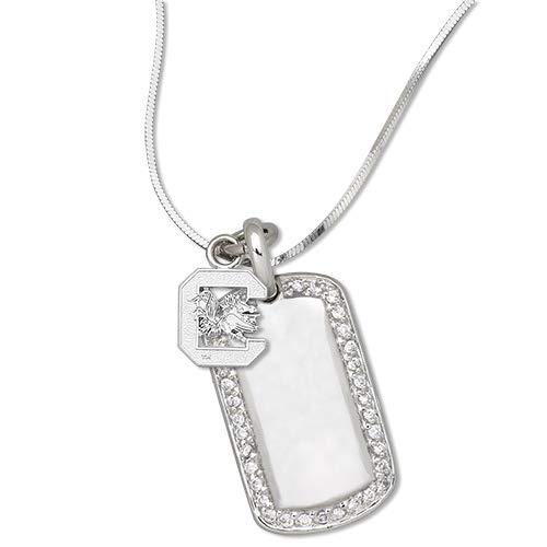 LogoArt University of South Carolina Sterling Silver Mini Dog Tag Necklace