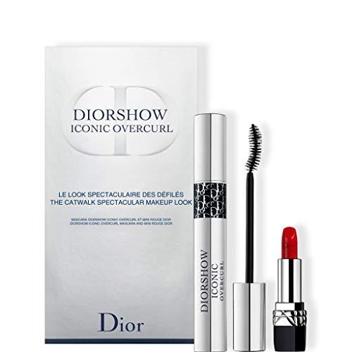 Christian Dior Christian Dior Dior Diorshow Iconic Overcurl 2 Piece Set (mascara 090 0.33 Oz + Mini Rouge Lipstick 999) (Mini Dior Mascara)
