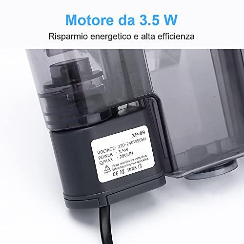 AKKEE Filtro per Acquario, Valvola di Flusso Regolabile, Acquario Sommergibile Filtro a Cascata Tipo di 200L / H Filtro Esterno, Adatto per Acquario da 20L ~ 40L (3,5W)