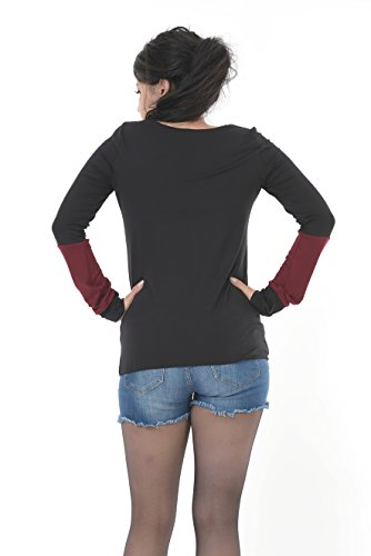 elfos borde mujer de casual larga manga negro 3 para con de Camisa X8xw7qv6w
