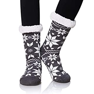 Dosoni Women's Fleece Lining Fuzzy Soft Warm Winter Christmas Slipper Socks (Snowflake Dark Grey)