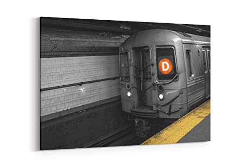 Selective Color Train Subway and NYC in New York United States - Canvas Wall Art Gallery Wrapped 12