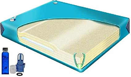 Queen 99% Waveless Waterbed Mattress With Contour Lumbar Support W/ Fill  Kit And 4oz