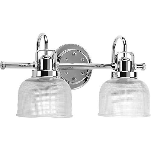 Progress Lighting P2991-15 2-Light Chrome Bath Light, Clear prismatic glass, Chrome finish