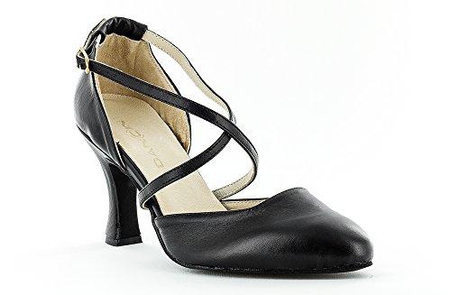 Scarpe da ballo donna punta chiusa dalla silhouette senza tempo , colore Nero tacco 7,5 cm