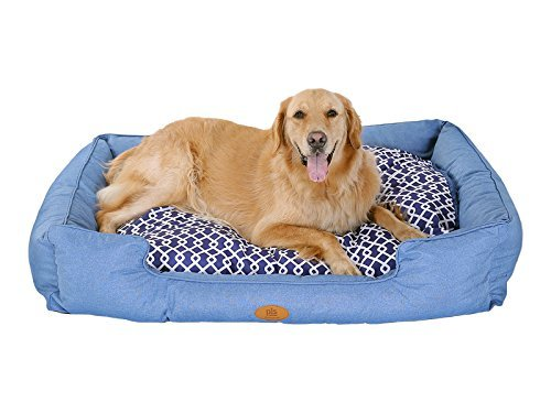 [New] PLS Birdsong Trellis Bolster Dog Bed, Pet Bed, Cat Bed, Blue, Removable Cover, Completely Washable