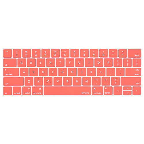 MOSISO Keyboard Cover Compatible MacBook Pro with Touch Bar 13 and 15 Inch New 2019 2018 2017 2016 (Model: A1989, A1990, A1706, A1707) with Touch ID, Silicone Skin Protector, Living Coral