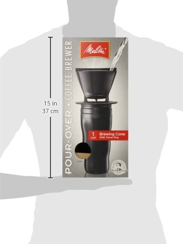 Melitta Coffee Maker, Single Cup Pour-Over Brewer with Travel Mug, Black (Pack of 2) by Melitta (Image #1)