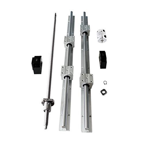 CNCCANEN Ballscrew RM1204-600mm with BK10/BF10 + SBR12-600mm Linear Rail Guideway Set SBR12UU Block Bearing Slider Shaft Rod Kit for CNC Machine DIY
