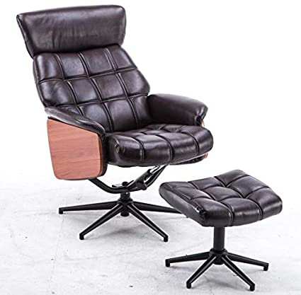 Wondrous Mcombo Recliner Chair And Ottoman Italian Style Gaming Chair Gamepad Lounger Vintage Brown Pu Leather Armchair With Foot Stool Ottoman Download Free Architecture Designs Grimeyleaguecom
