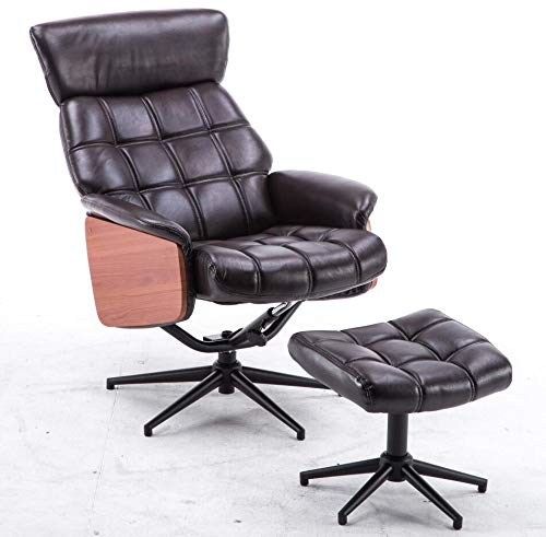 Mcombo Lounge Recliner Chair and Ottoman, Italian Style Recliner Gaming Chair Gamepad Lounge Chair, High Grade Vintage Brown PU Leather Armchair w/Foot Stool Ottoman