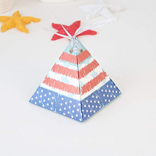ChezMax 50pcs American Flag Favor Boxes Triangle Star Stripe Cute Candy Box Gift Bags Independence Day Theme Party Supplies Birthday Decorations